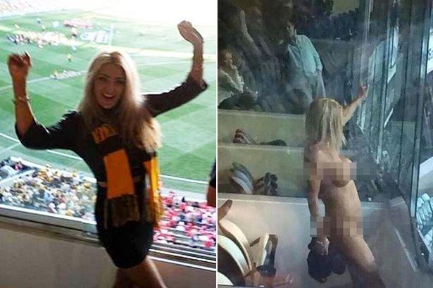 Heather McCartney oslavila vítězství svého oblíbeného týmu tím, že se svlékla Foto: twitter/Mirror.co.uk
