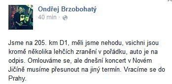 Ondřej o své nehodě informovala na sociálních sítích Foto: