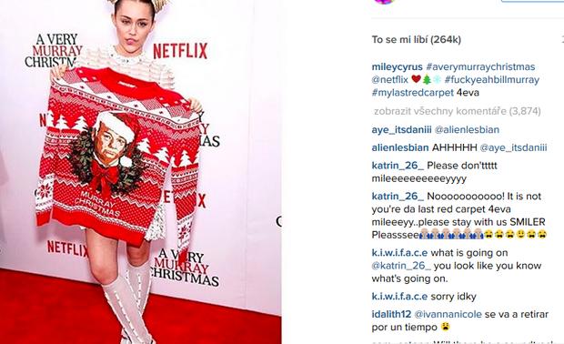Miley se s červeným kobercem rozloučila na Instagramu Foto: